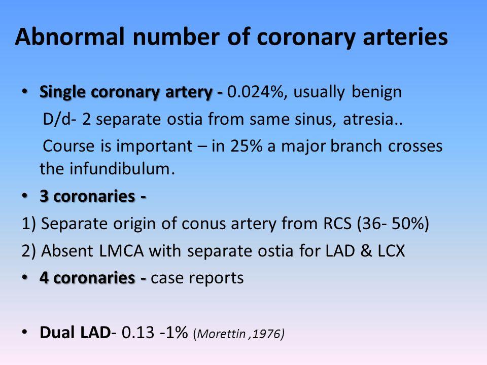 Abnormal number of coronary arteries