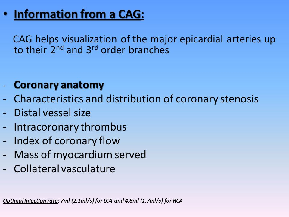 Information from a CAG: