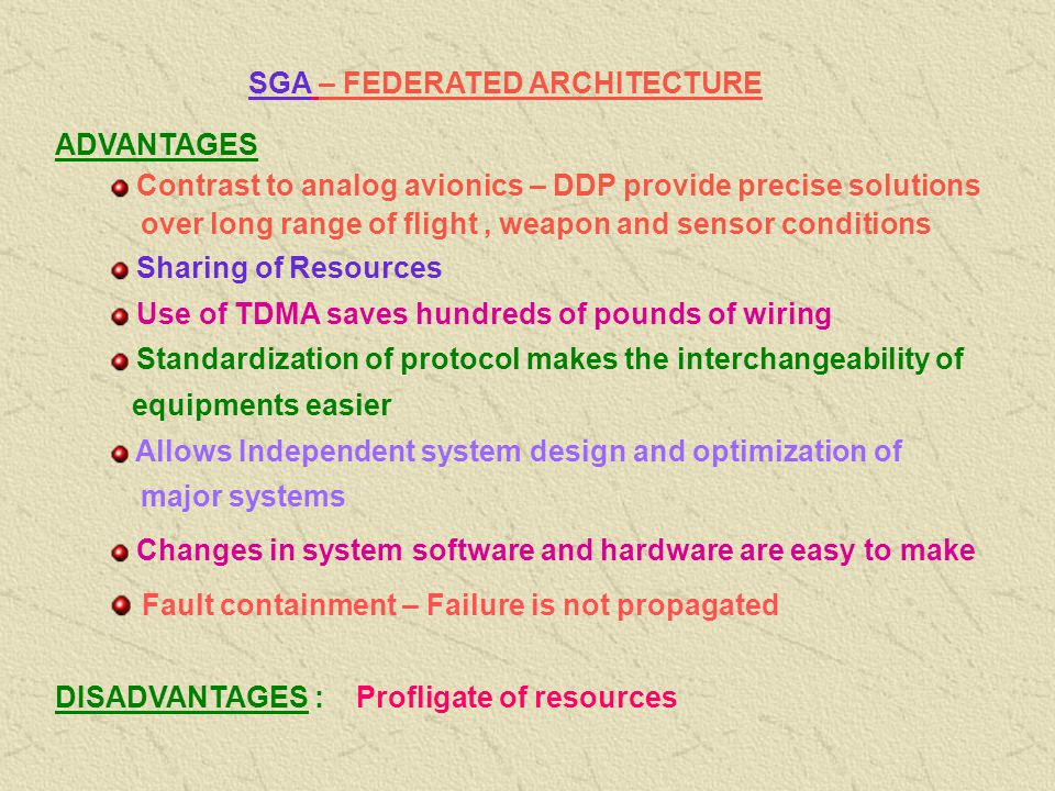 SGA – FEDERATED ARCHITECTURE