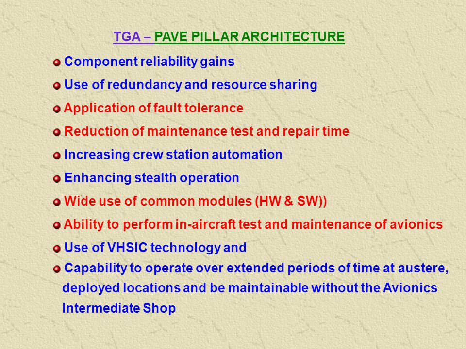 TGA – PAVE PILLAR ARCHITECTURE