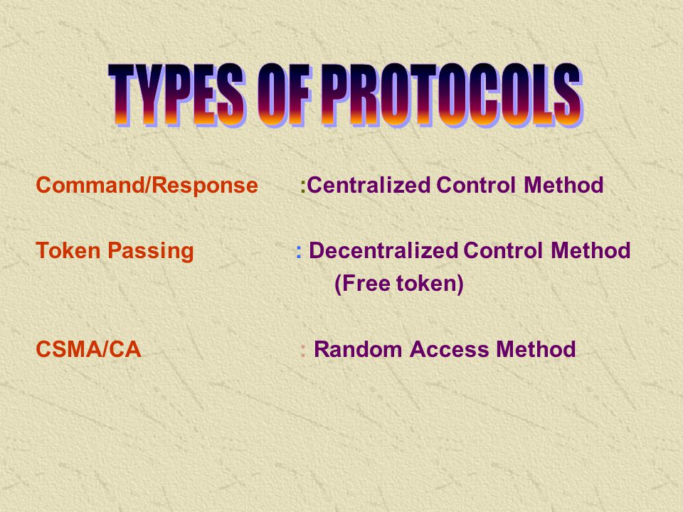 TYPES OF PROTOCOLS Command/Response :Centralized Control Method