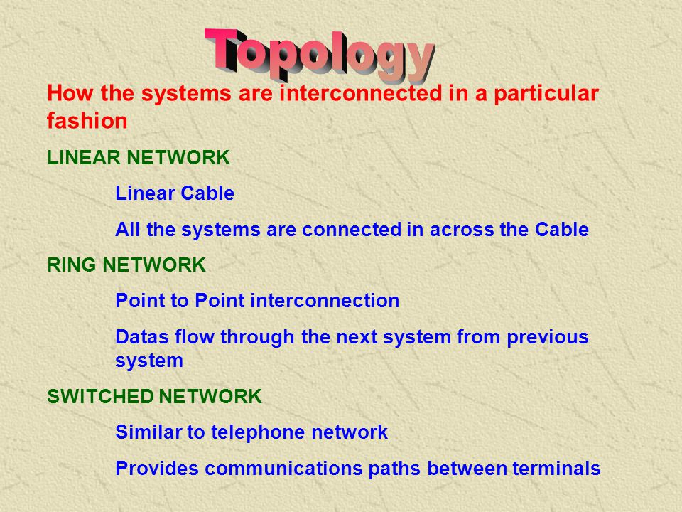 Topology How the systems are interconnected in a particular fashion