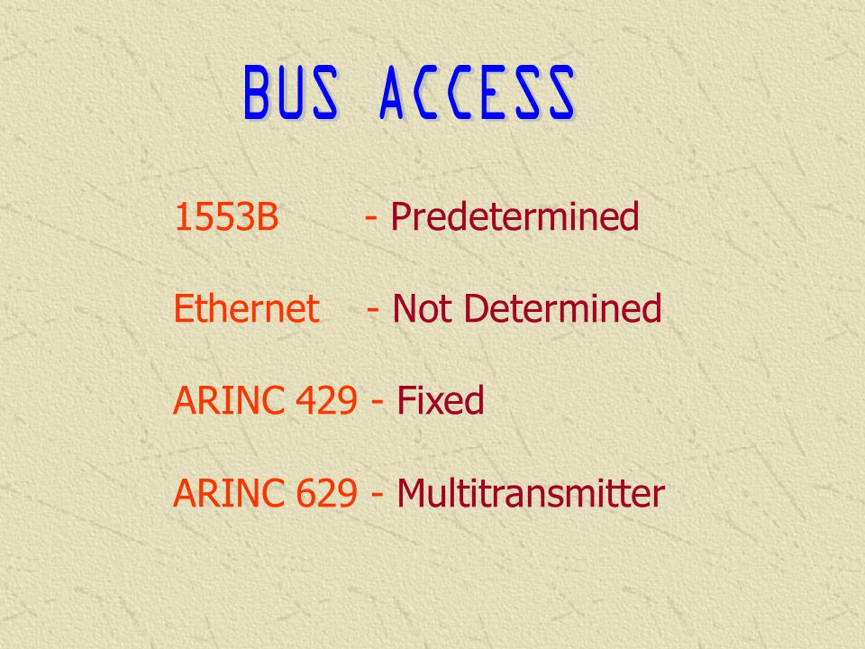 BUS ACCESS 1553B - Predetermined Ethernet - Not Determined