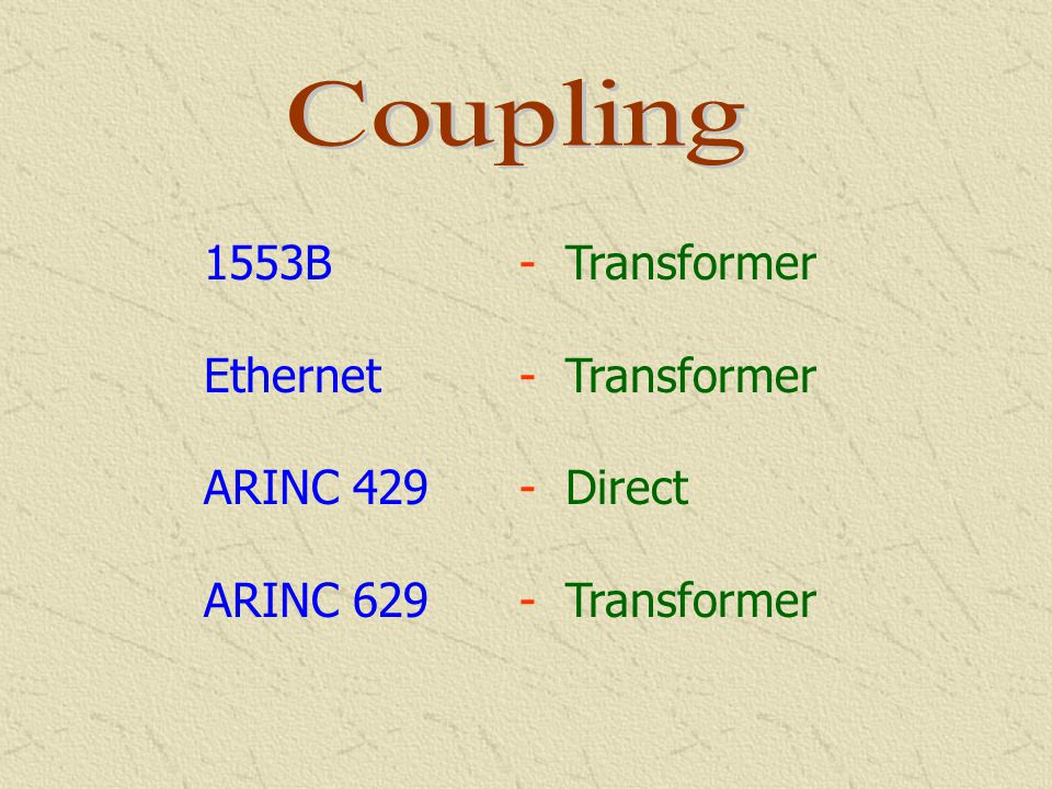 Coupling 1553B - Transformer Ethernet - Transformer ARINC 429 - Direct