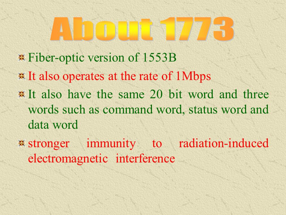 About 1773 Fiber-optic version of 1553B