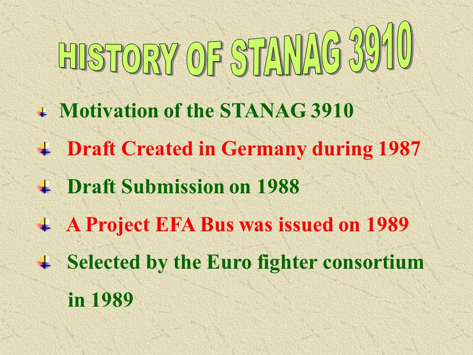 HISTORY OF STANAG 3910 Draft Created in Germany during 1987