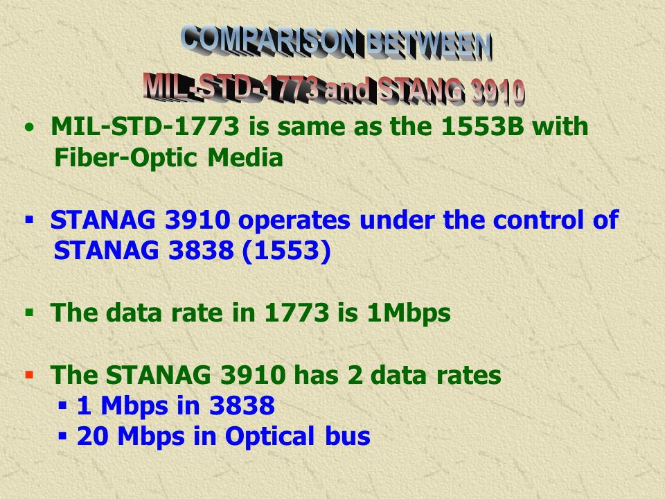 COMPARISON BETWEEN MIL-STD-1773 and STANG 3910