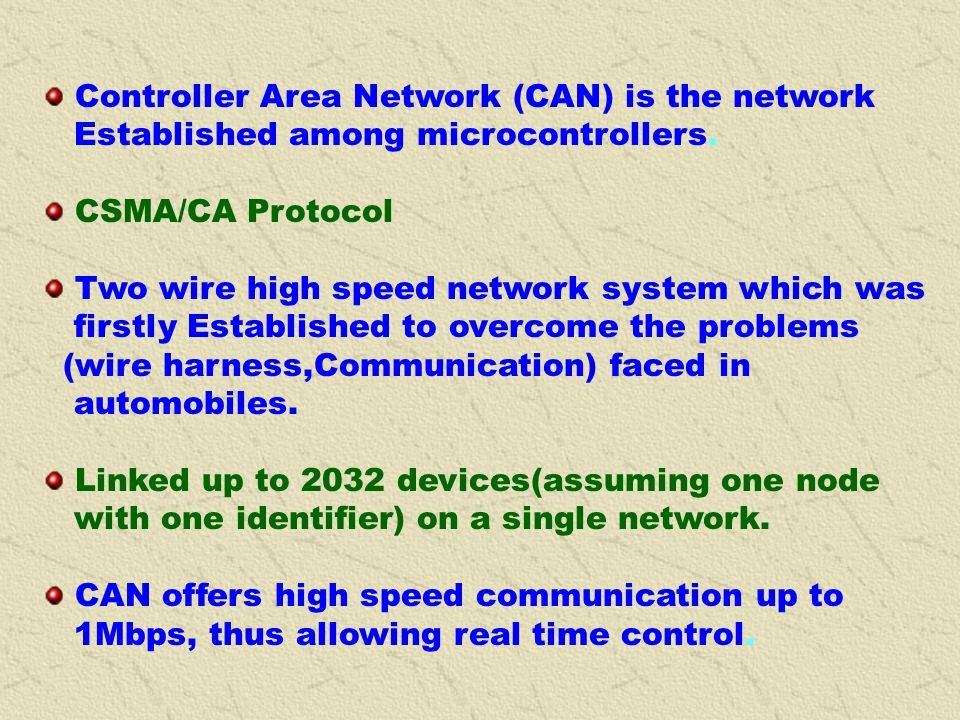 Controller Area Network (CAN) is the network
