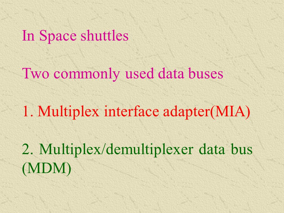 In Space shuttles Two commonly used data buses. 1.