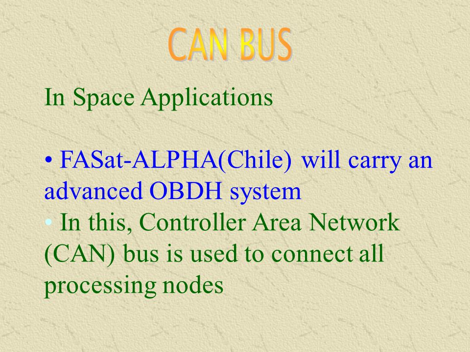 CAN BUS In Space Applications