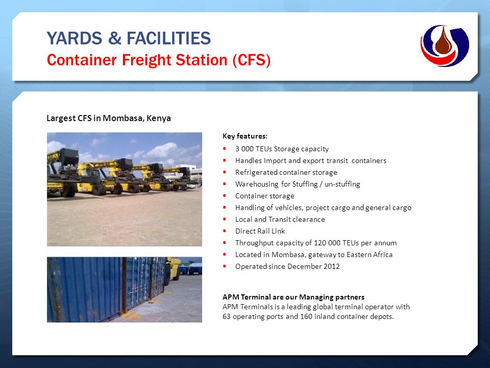 YARDS & FACILITIES Container Freight Station (CFS)