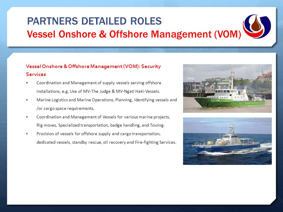 PARTNERS DETAILED ROLES Vessel Onshore & Offshore Management (VOM)