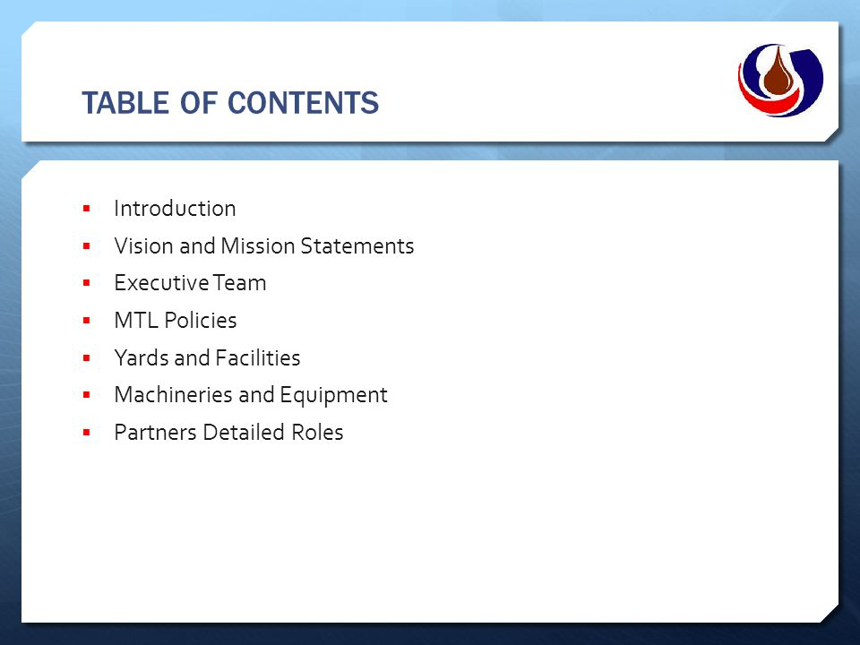 TABLE OF CONTENTS Introduction Vision and Mission Statements