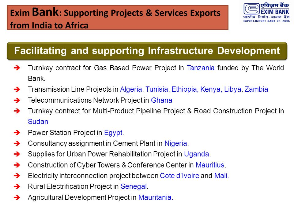 Exim Bank: Supporting Projects & Services Exports from India to Africa
