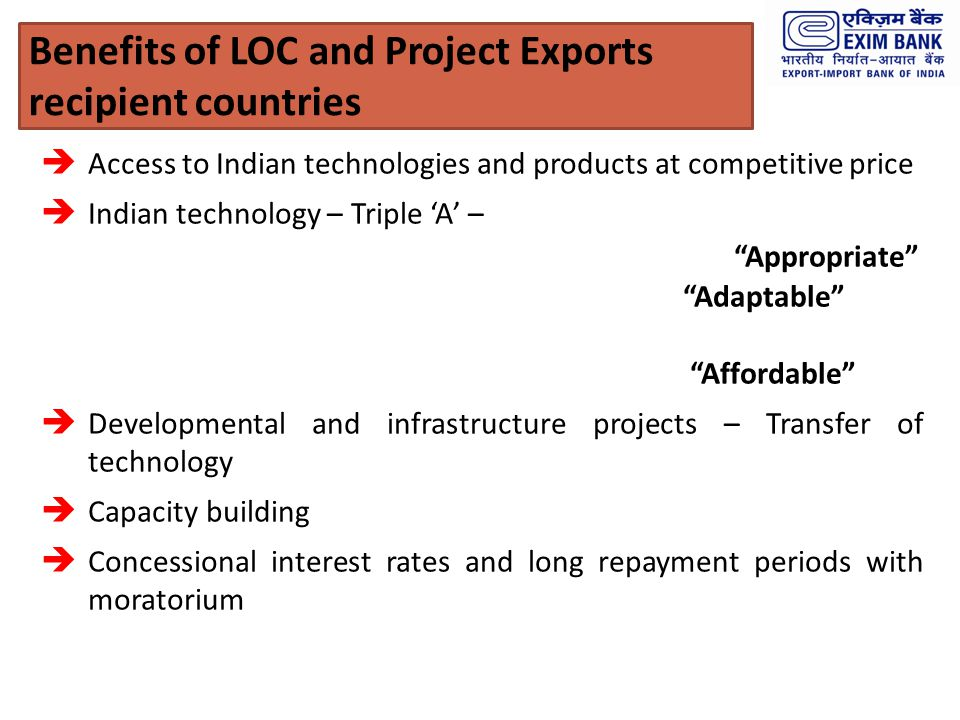 Benefits of LOC and Project Exports recipient countries