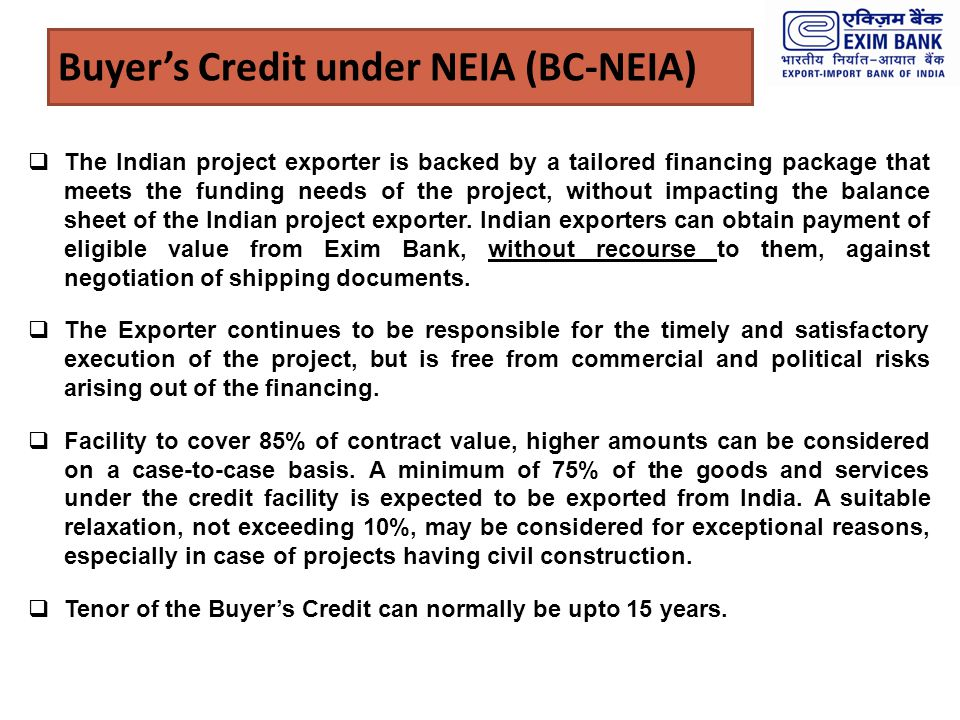 Buyer's Credit under NEIA (BC-NEIA)