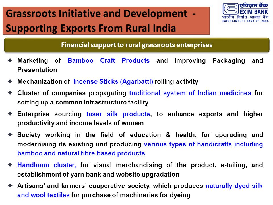 Financial support to rural grassroots enterprises