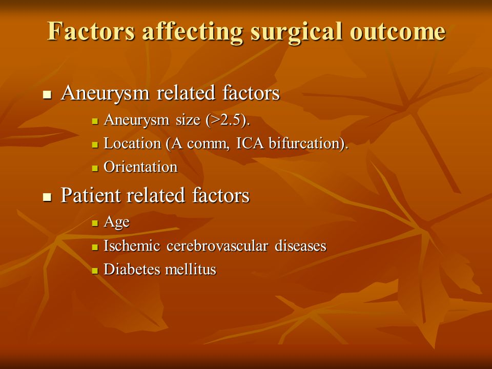 Factors affecting surgical outcome