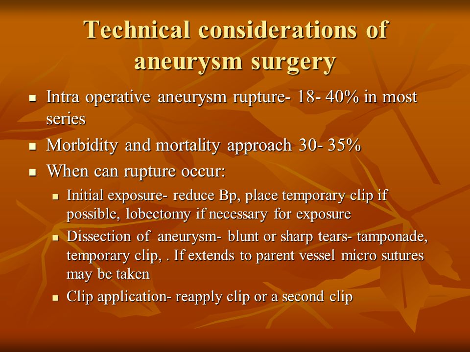 Technical considerations of aneurysm surgery