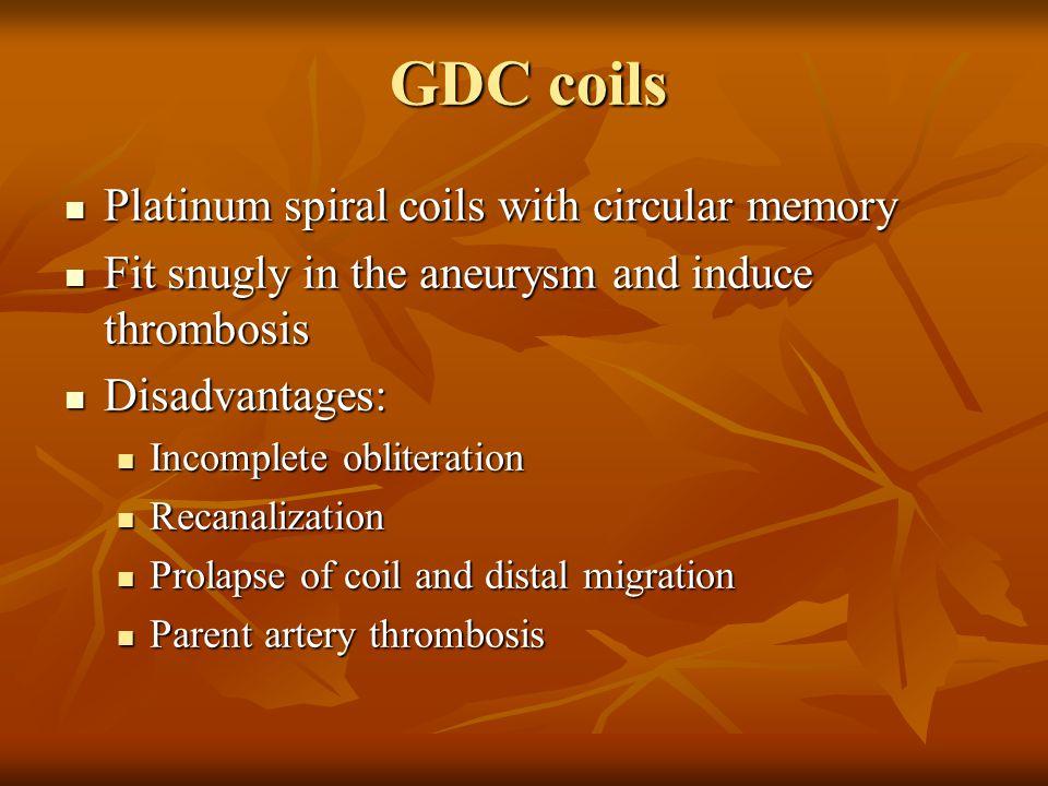GDC coils Platinum spiral coils with circular memory