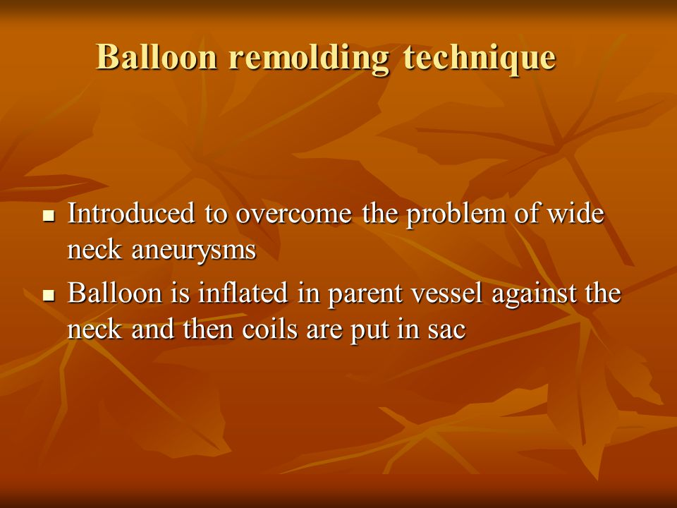 Balloon remolding technique