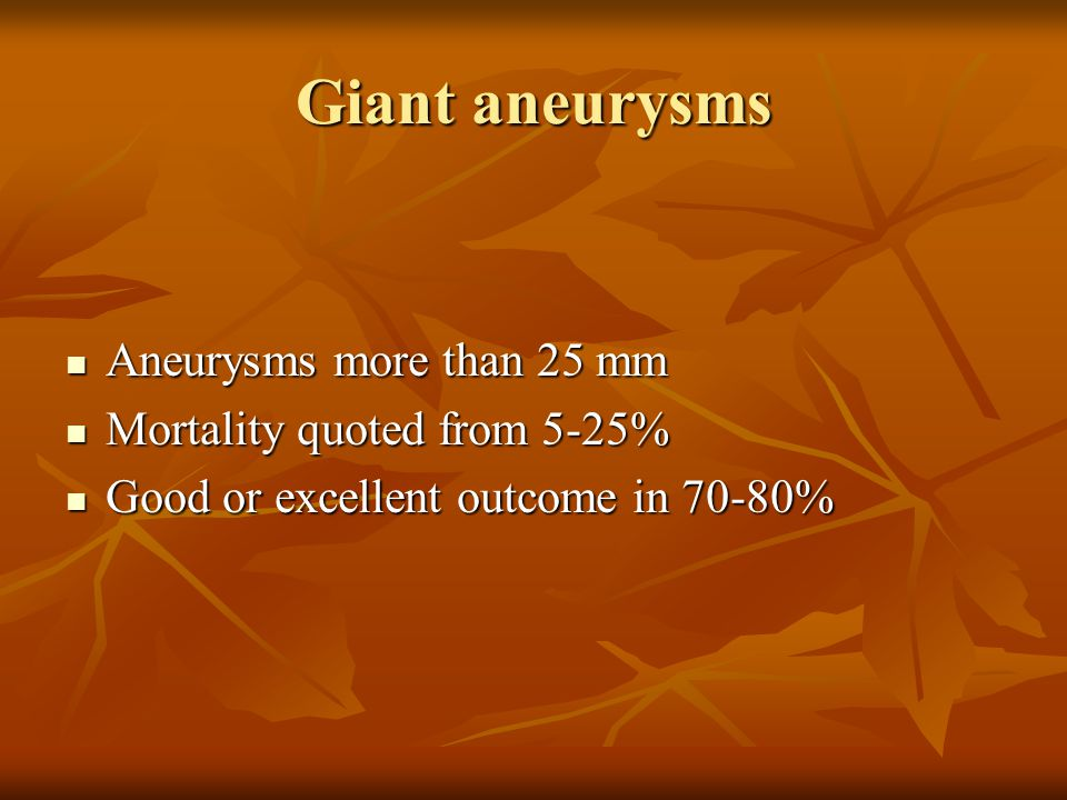 Giant aneurysms Aneurysms more than 25 mm Mortality quoted from 5-25%