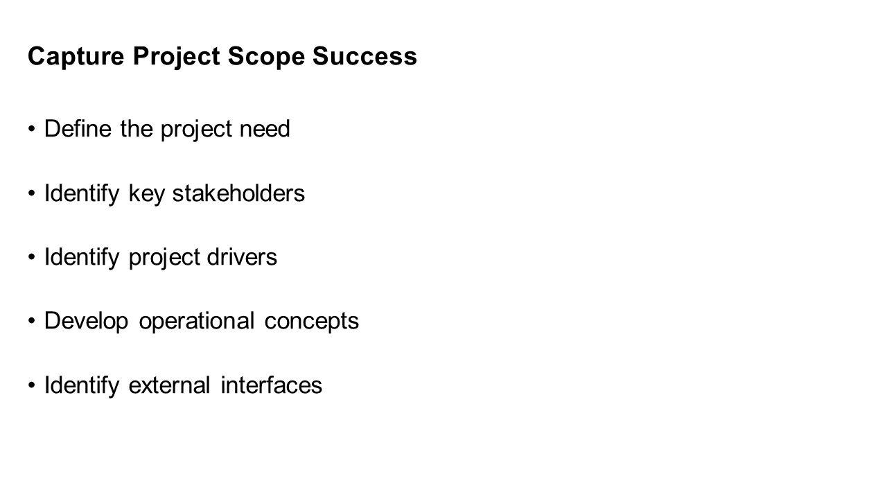 Capture Project Scope Success