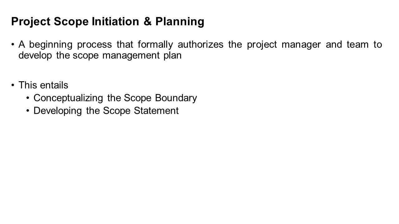 Project Scope Initiation & Planning