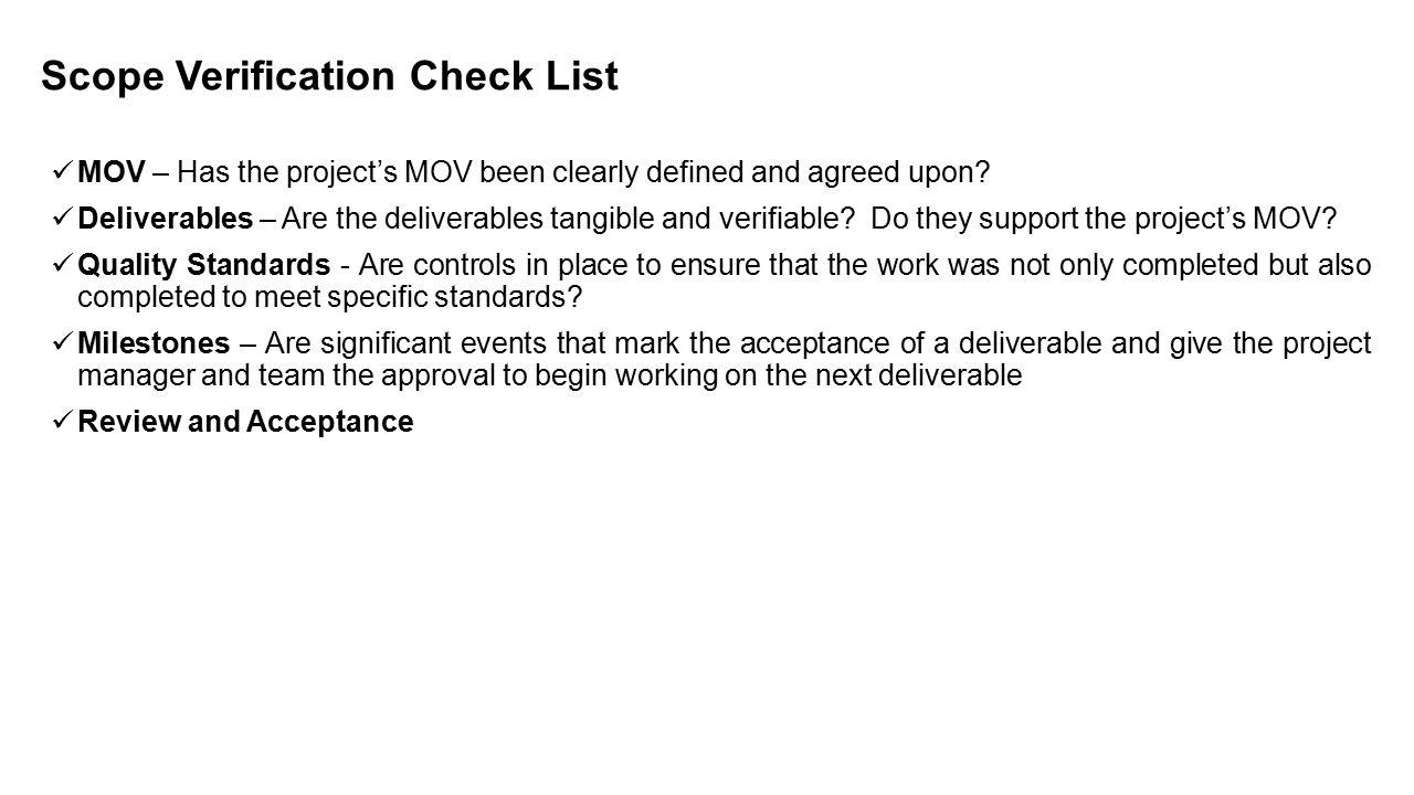 Scope Verification Check List