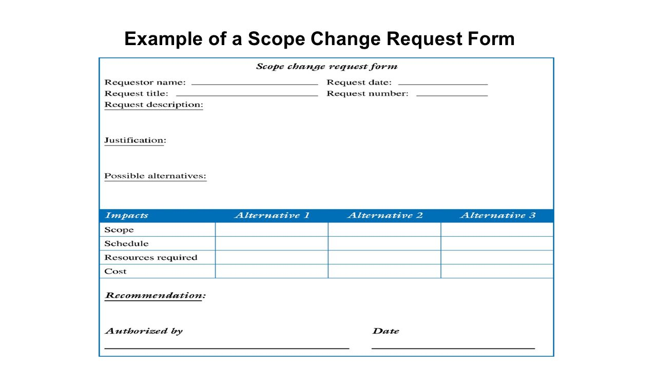 Example of a Scope Change Request Form
