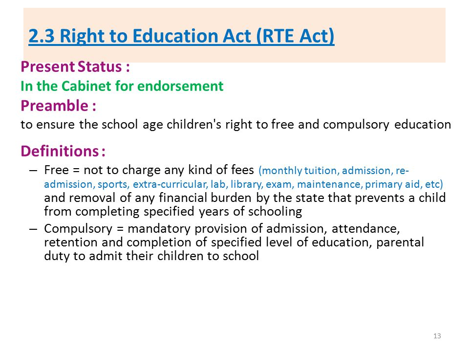 2.3 Right to Education Act (RTE Act)