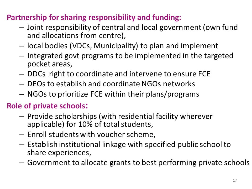 Partnership for sharing responsibility and funding:
