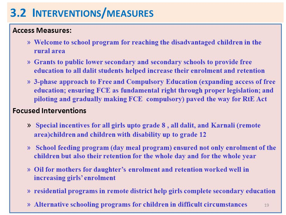 3.2 Interventions/measures