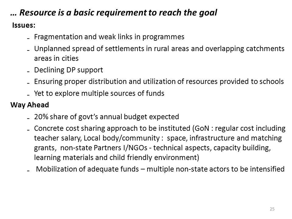 … Resource is a basic requirement to reach the goal