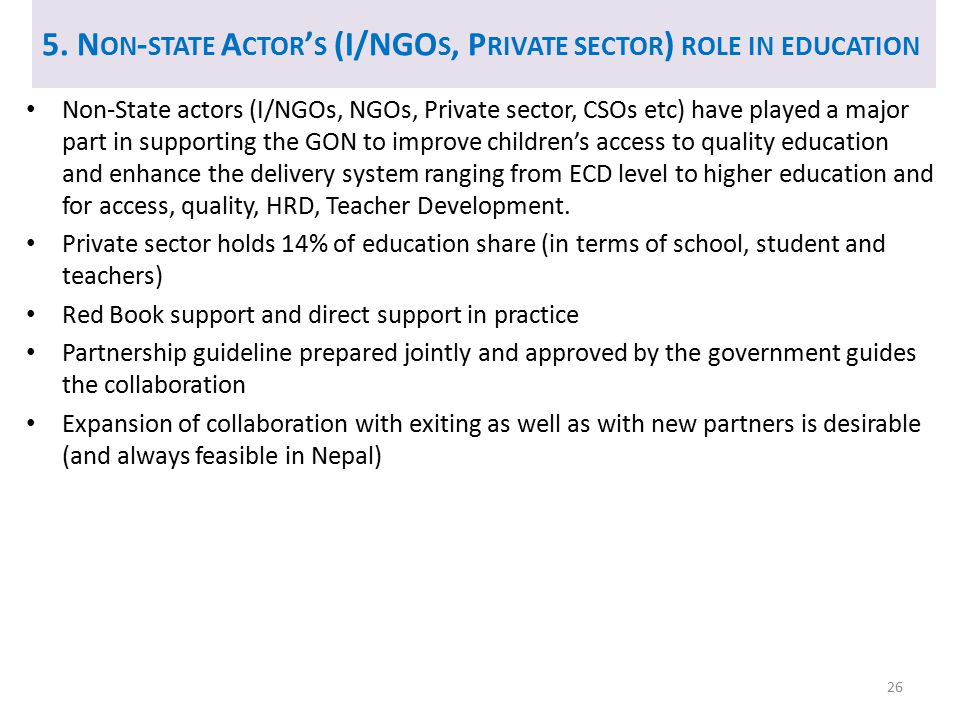 5. Non-state Actor's (I/NGOs, Private sector) role in education