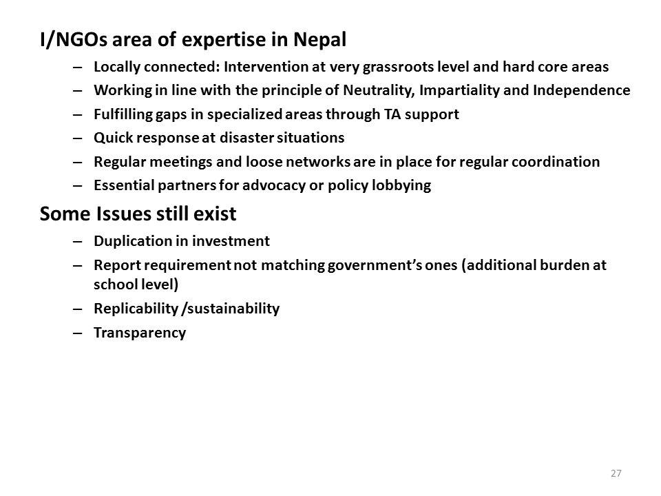 I/NGOs area of expertise in Nepal