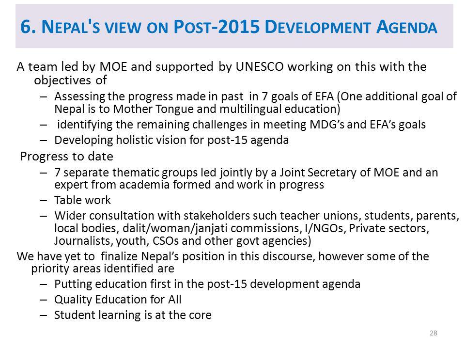 6. Nepal s view on Post-2015 Development Agenda