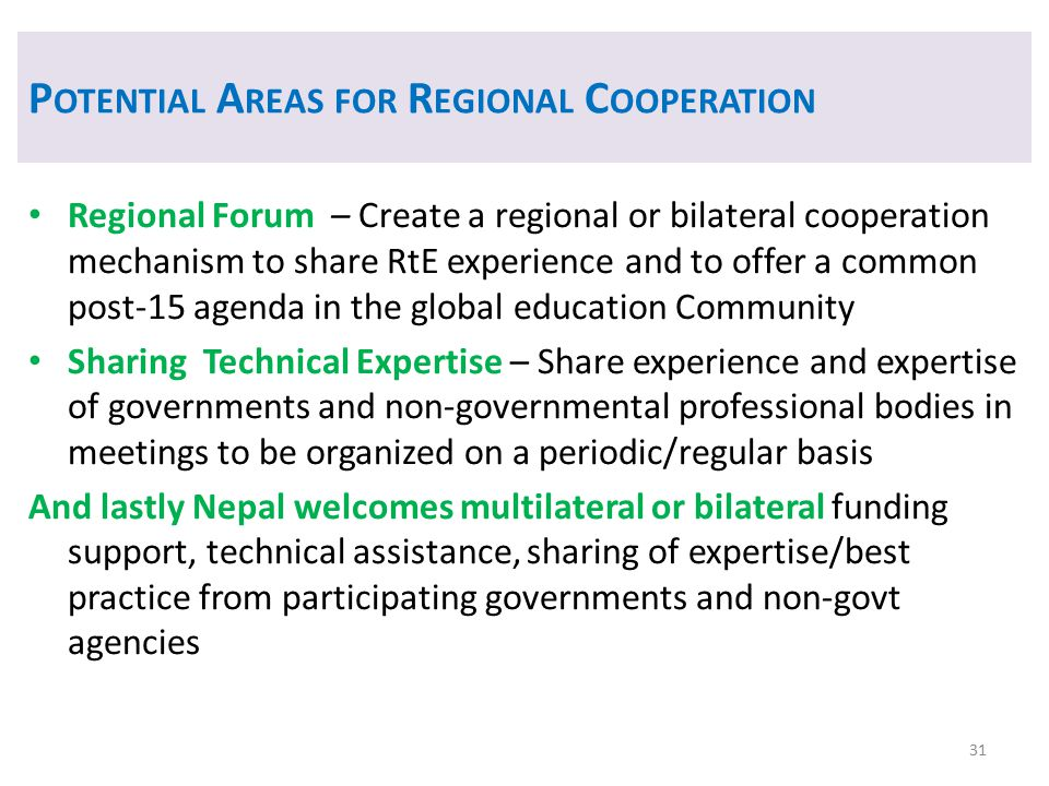 Potential Areas for Regional Cooperation
