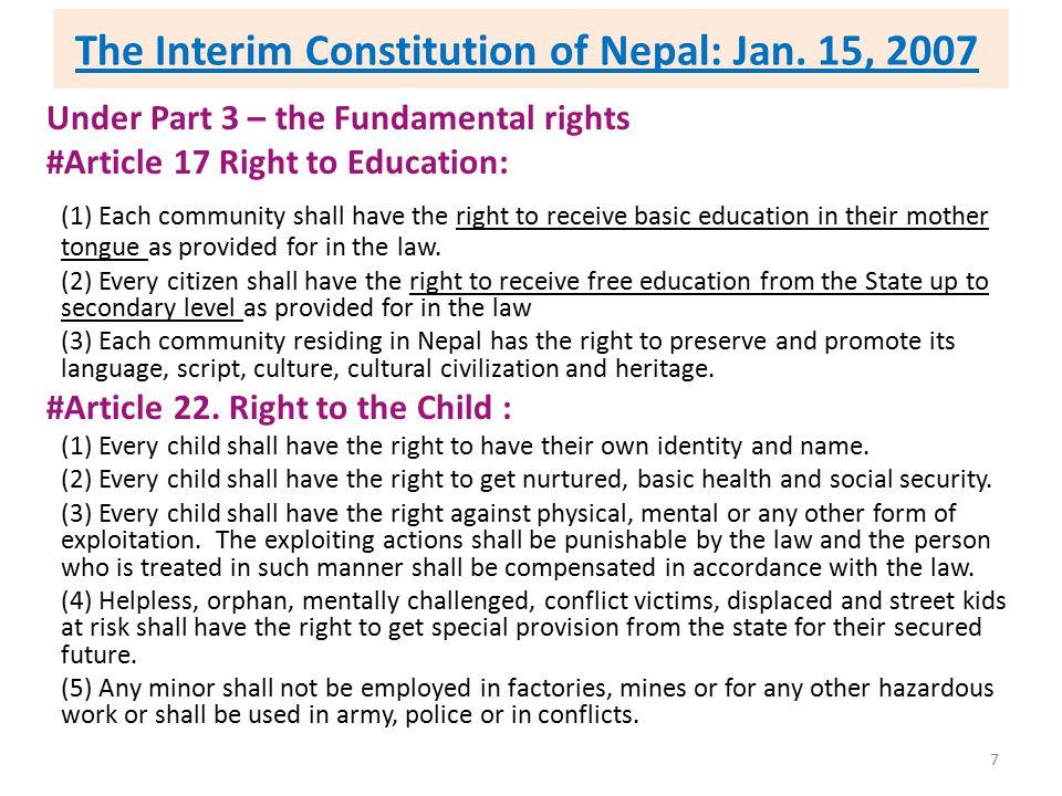 The Interim Constitution of Nepal: Jan. 15, 2007
