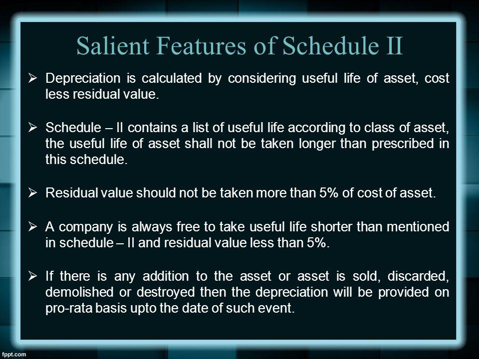 Salient Features of Schedule II