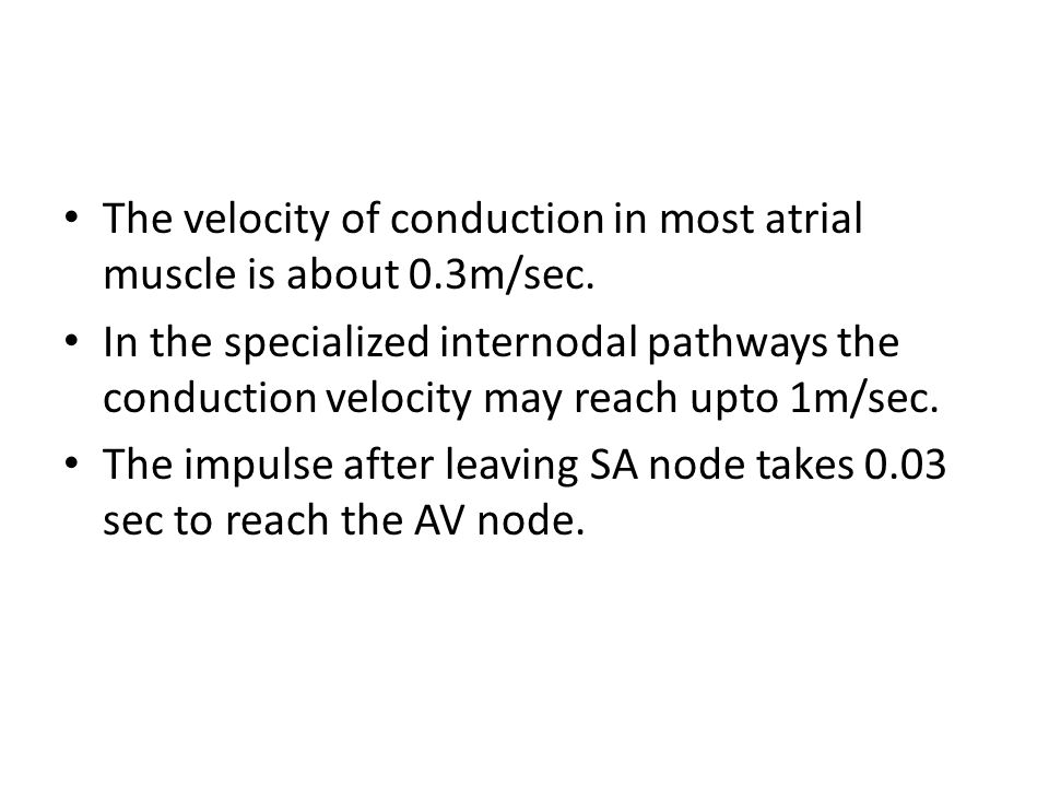 The velocity of conduction in most atrial muscle is about 0.3m/sec.