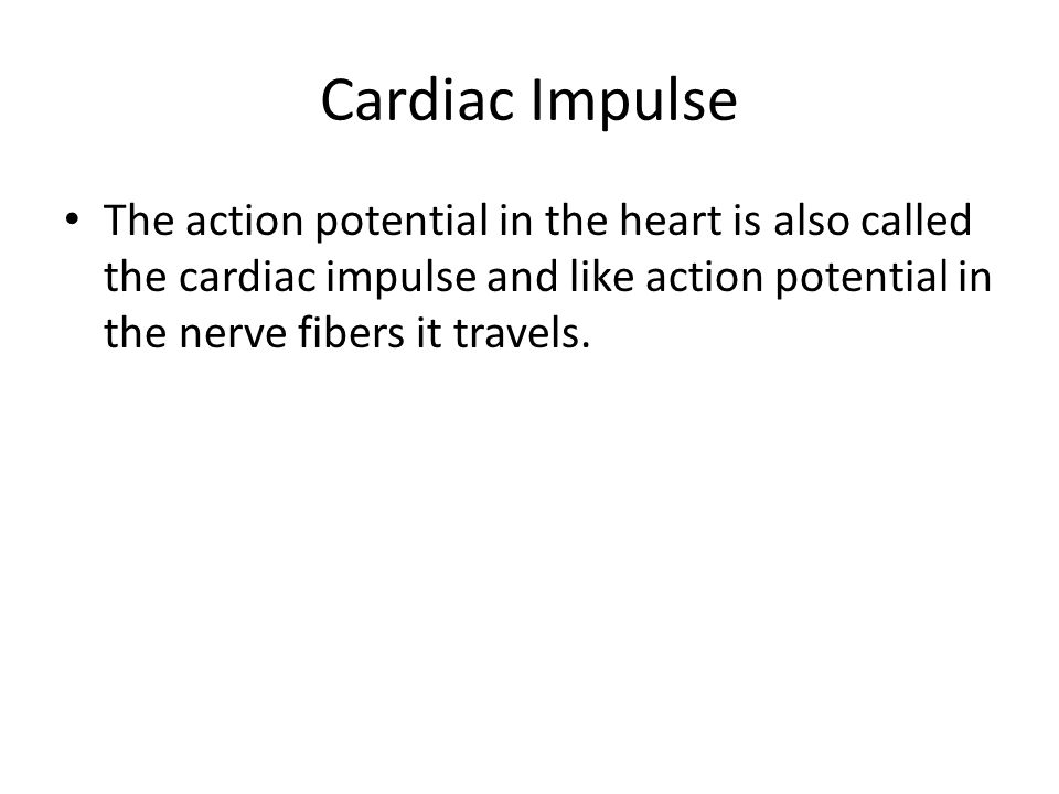 Cardiac Impulse The action potential in the heart is also called the cardiac impulse and like action potential in the nerve fibers it travels.