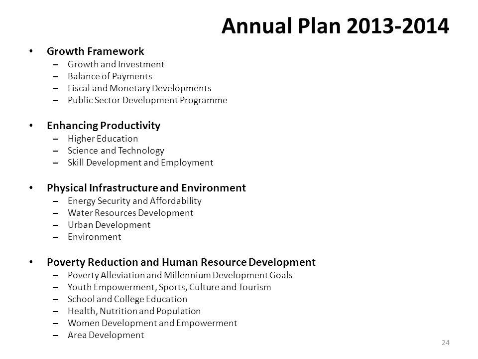Annual Plan 2013-2014 Growth Framework Enhancing Productivity