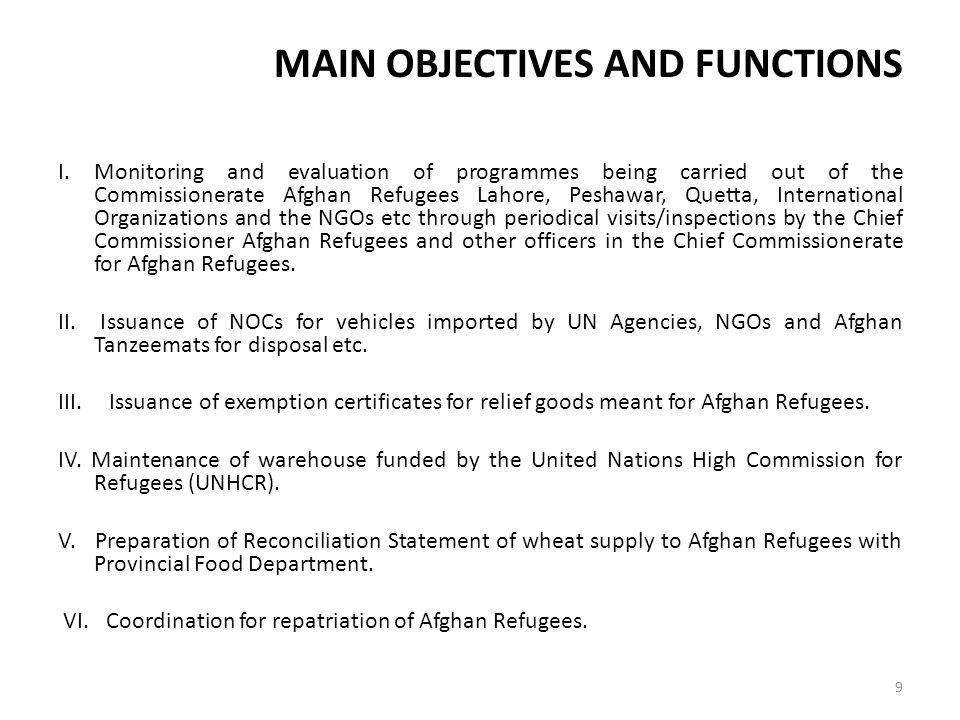 MAIN OBJECTIVES AND FUNCTIONS