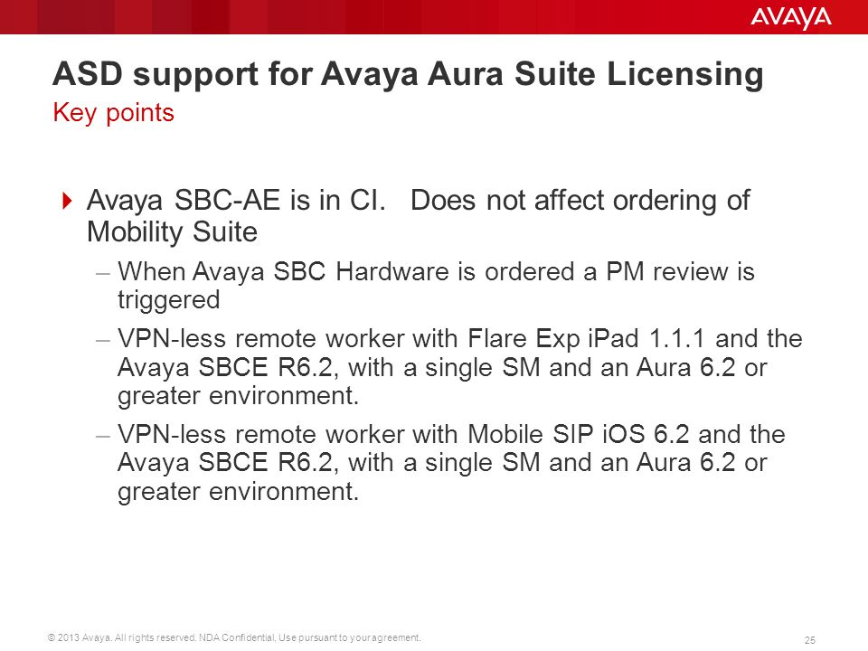 ASD support for Avaya Aura Suite Licensing