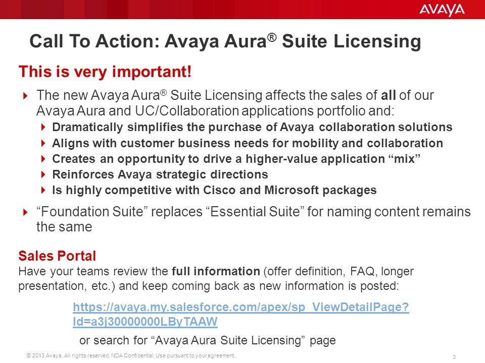 Call To Action: Avaya Aura® Suite Licensing