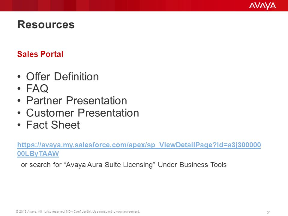 Customer Presentation Fact Sheet