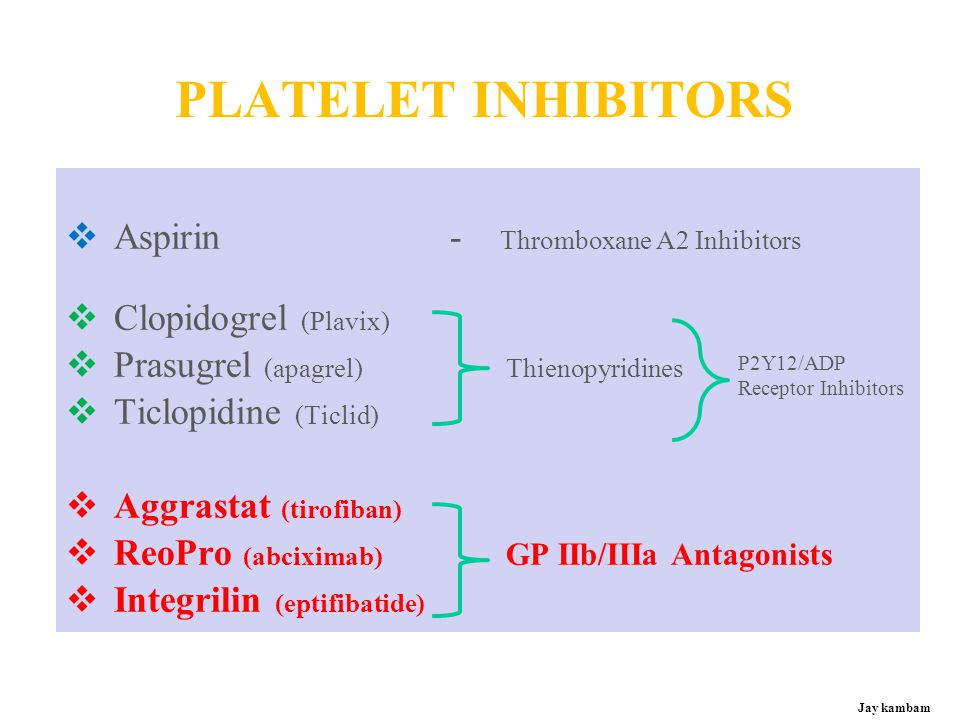 PLATELET INHIBITORS Aspirin - Thromboxane A2 Inhibitors