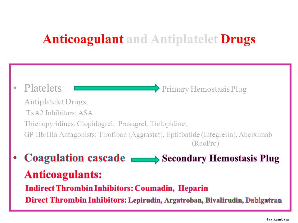 Anticoagulant and Antiplatelet Drugs
