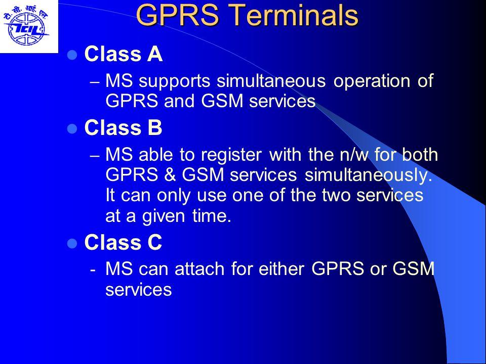 GPRS Terminals Class A Class B Class C